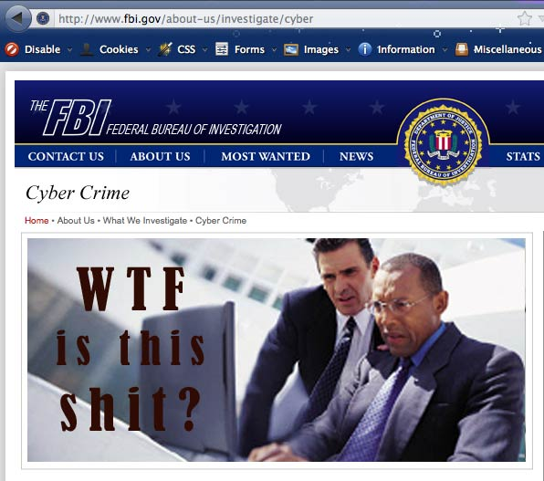 Screencap of FBI cybercrime website showing agents looking at a computer screen, captioned WTF is this shit.